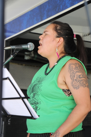 Fox Mandy performs for shelter me: Party in the park on Saturday, July 21. Photo by Richard Amery