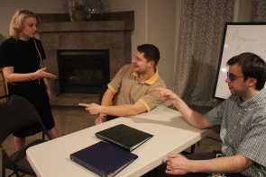 Megan Fennell, Trevor Loman and Cole Fetting rehearse Daisy. Photo by Richard Amery